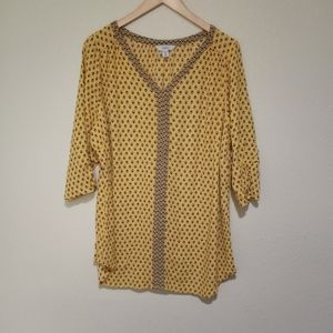 Croft & Barrow yellow patterned top